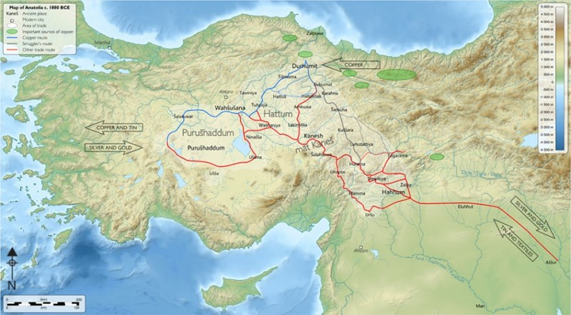 Figure 1. The map of Assyrian trading routes and major cities (after Kulakoğlu & Kangal 2010).