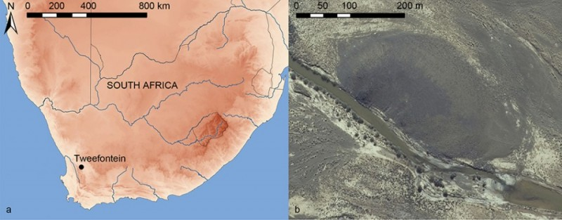 Figure 1. a) Map showing the location of Tweefontein; b) aerial view of the site (image from the National Geo-spatial Information (Department of Rural Development and Land Reform, South Africa).