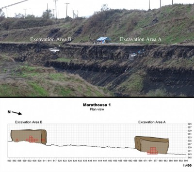 Figure 2. Above: panoramic view towards the south-west; below: plan view of the site, showing the grid and excavation areas.