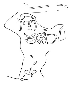 Figure 2. Sketch of the warrior figure, adapted from Lethbridge (1957: fig. 5).