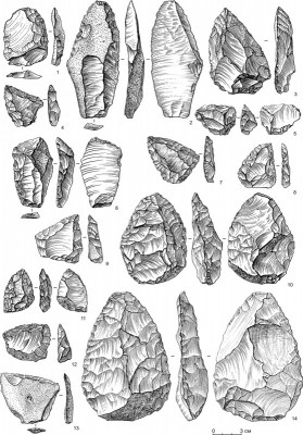 Figure 4. Lithic artefacts from the Chagyrskaya Cave (layer 6б).
