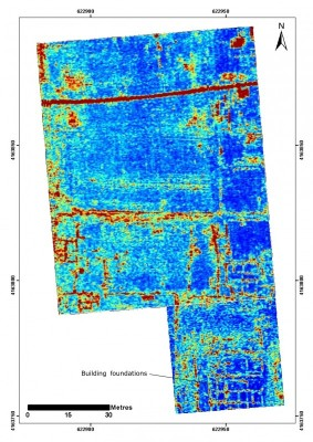 Figure 5. GPR time slice from a depth of 70–80cm from the southern part of Mantinea; red represents high amplitude and blue represents low amplitude; the data shows the foundations of a large building complex in the southern half of the grid.