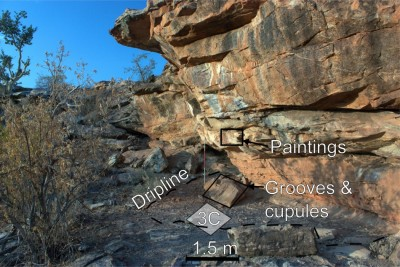 Figure 3. This image shows the small size of Mafunyane and where the new excavation (3C) and rock markings can be found.
