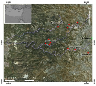 Figure 3. Location of studied terraced landscapes (marked in red) in the Jerusalem Highlands (see inset); the main channels of Kesalon, Soreq and Refa'im Valleys are indicated.