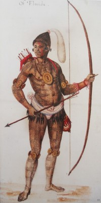 Figure 2. Timuacan man 'Of Florida', by John White c. 1585, probably after Jacques Le Moyne 1564–1565. Watercolour. British Museum, Department of Prints & Drawings 1906, 0509. 1.22.