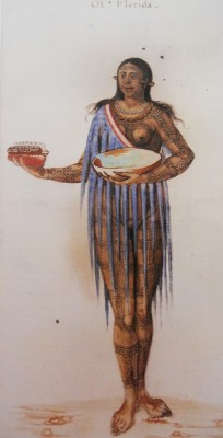 Figure 3. Timuacan woman 'Of Florida', by John White c. 1585, probably after Jacques Le Moyne 1564–1565. Watercolour. British Museum, Department of Prints and Drawings 1906, 0509. 1. 23.