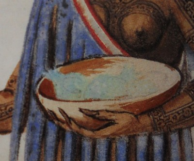 Figure 4. Detailed view of figure 3, showing bowl with what could be pineapples in the woman's left hand.