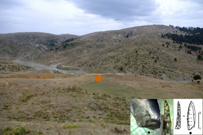 Figure 6. The small basin north of Samarina, photographed from the west; the orange dot marks the place where the microlithic backed point was recovered (HCF-2); Mount Kirkuri is in the background (photographs by P. Biagi and E. Starnini).