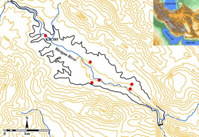 Figure 1. Map showing the area of Kouhrang Dam reservoir and the sites excavated during the second season (2013).