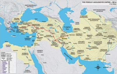 Figure 1. The Persian Empire in 500 BC, with the Royal Road from Susa to Sardis, and Ragai to Opis; the location of Hamedan (Hegmataneh) is also indicated (© Ian Mladjov: https://sites.google.com/a/umich.edu/imladjov/maps with modifications).