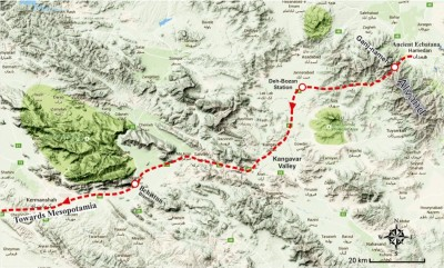 Figure 6. The suggested route of the Royal Road from Hamedan to the west.