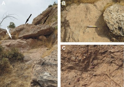 Figure 3. Site 744: the breccia layer with Middle Palaeolithic industry and faunal remains; A: general view of the deposit (white arrow) and the blocks of the collapsed roof (black arrows); B & C: details of the deposits.