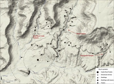 Figure 1. Location of sites in Castle Rock Community dating to the thirteenth century AD (sites with a question mark are of uncertain chronology); drawing by Sand Canyon-Castle Rock Community Archaeological Project.