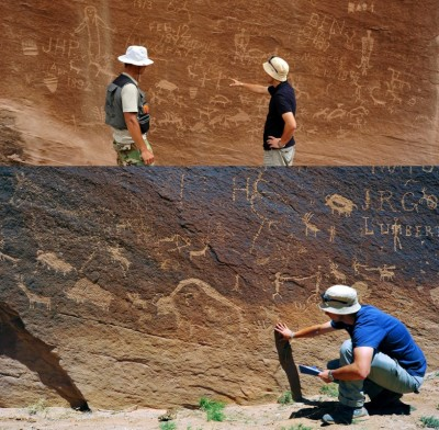 Figure 7. Rock art panels from different periods at the Strawman Panel site in Sandstone Canyon during the documentation.