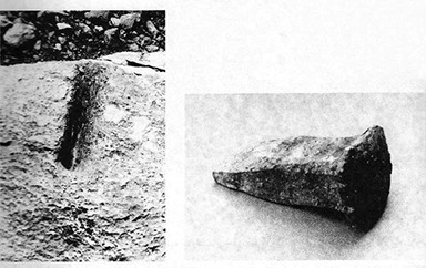 Figure 5. Chel Maran quarry and ancient stonecutting tools found at the Chel Maran campus (Mehriar & Kabiri 2003: 85).