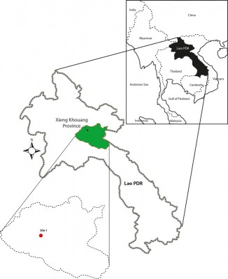Figure 1. Location of site 1, Xieng Khouang Province, Laos.