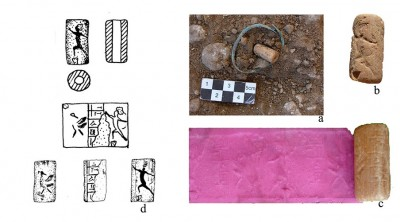 Figure 5. The cylindrical seal from grave 69 at Lama (a: <i>in situ</i>, b: the archer, c: new impression of the seal, d: drawing of seal impression).