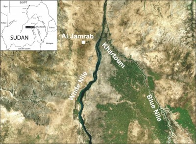 Figure 1. Landsat satellite image indicating the position of Al Jamrab along Wadi Hamra; the insert represents the position of the area within Sudan.