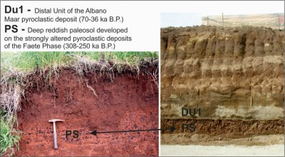 Figure 5. Geological stratigraphy and reddish volcanic palaeosol in S. Cesareo (Rome).