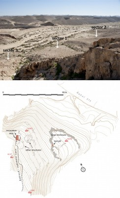 Figure 2. Plan of sector 1. Note the large enclosure or terrace wall(s) on the lower part of the slope, closer to the riverbed, and the excavated circular structure.