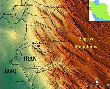 Figure 1. Map of Iran showing the location of Bar-e Palang in the Zagros Mountains.