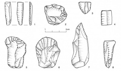 Figure 6. Early Upper Palaeolithic artefacts from the site of At 2015 excavations.