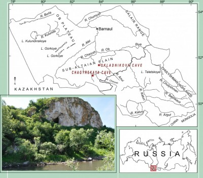Figure 1. Map of the Altay region showing the Chagyrskaya and Okladnikova Caves; location of the Chagyrskaya Cave.