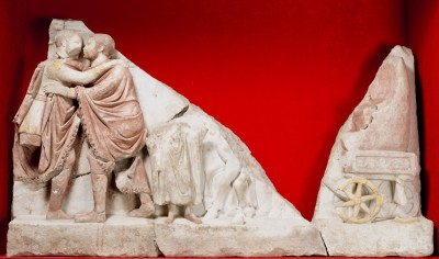Figure 5. One of the Çukurbağ reliefs discovered in 2009: the meeting of two Roman generals (brothers or emperors?).