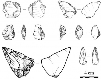 Figure 4. Drawings of stone tools recovered from SU 11.