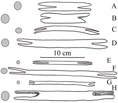 "Figure 2. Simplified contours (showing notched ends) and cross-sections of Middle Magdalenian (16 700–15 700 BC) reindeer antler <i >navettes</i> (A–D) compared with historical, round, stick shuttles (E–H); A, Poland, Maszycka (redrawn from Allain <i>et al.</i> 1985: fig. 49); B, France, Grappin (specimen '19' in private collections of Prince Ernest d'Arenberg, Château d'Arlay; redrawn from photograph by M. Bless); C, France, Le Placard (redrawn from Allain <i>et al.</i> 1985: fig. 32-2b); D, France, Roc-de-Marcamps (redrawn from Allain <i>et al.</i> 1985: fig. 23-1); E, wooden netting needle, Egypt, Late Middle Kingdom, 1800–1700 BC (redrawn from photograph of specimen UC7264 in the Petrie Museum collections); F, wooden netting needle, Western Australia, AD 1898 (redrawn from photograph of specimen Oc1960.11.61 in the British Museum collections); G, cane netting needle, Indonesia, Borneo (Dayak), AD 1900 (redrawn from photograph of specimen As1900,-.955 in the British Museum collections); H, cane ""<i>navette</i>, used by the roper's wife for net making (fish nets)"", Morocco, AD 1937 (redrawn from photograph of specimen 71.1937.29.56.1-2 in the Musée du Quai Branly collections)."