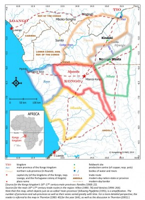 Figure 1. Location map situating the Kindoki and Ngongo Mbata sites inside the Kongo kingdom borders of the sixteenth–seventeenth centuries.