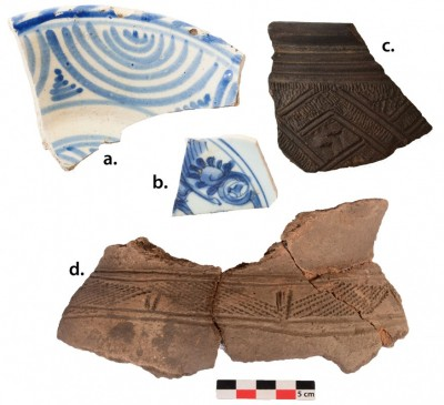 Figure 2. A) Portuguese tin-glazed pottery (1640–1700) from Ngongo Mbata; B) Chinese (1662–1722) tin-glazed pottery from Ngongo Mbata; C) elite-related pottery (seventeenth century) from Ngongo Mbata; D) pottery from Kindoki, probably dated to the fourteenth century (pictures 2A & 2B were made at the Royal Institute for Cultural Heritage (IRPA/KIK)—Brussels).