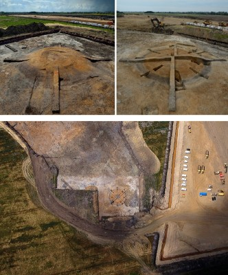 Figure 2. Barleycroft Farm/Over barrow 18 excavations: top, mound-excavation stages (photographs, D. Webb) and, below, Ben Robinson's aerial photograph in which the excavation segments dug initially around the monument's circuits are visible.