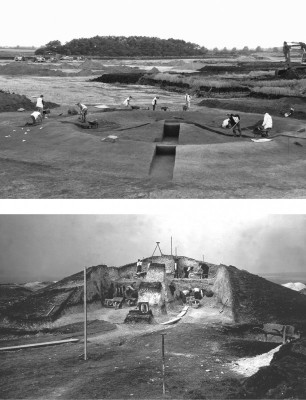 Figure 4. Monument poses: top, Barleycroft Farm/Over barrow 15 (photograph, D. Webb); below, Pitt Rivers's Wor Barrow excavations.
