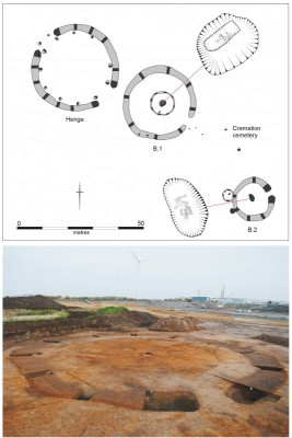 Figure 6. King's Dyke West, Whittlesey monument complex (top; after Knight & Brudenell 2016); below, Must Farm Terrace, Neolithic oval barrow (photograph, D. Webb).