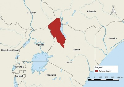 Figure 1. Map showing the location of Turkana County in northern Kenya.