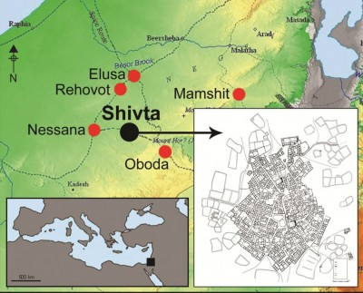 Figure 1. The location of Shivta and other Byzantine sites in the northern Negev; the site plan is taken from Hirschfeld (2003: fig. 3).