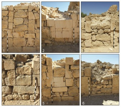 Figure 3. Six examples of sealed door openings at Shivta, including doors that are completely barricaded (1) and others that are sealed using finely dressed masonry (2–5) or small unmodified stones (6).