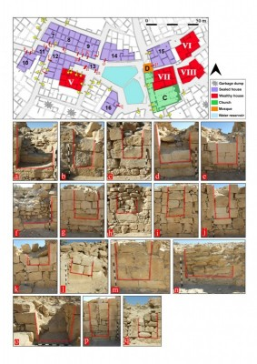 Figure 6. Magnification of the southern cluster of structures with sealed doors in the Shivta settlement plan; these structures are marked 7–16 and associated sealed doors are marked a–q; this part of the settlement contains the southern church (C), three of the elaborately built structures (V–VIII) and the Early Islamic mosque (D). </p> <p>