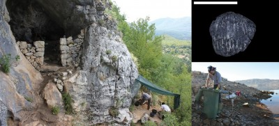 Figure 3. Entrance of the Vrbićka Cave in Montenegro (left); hazelnut shell remains recovered through flotation (top right) and flotation activity (bottom right); photographs by D. Boric and E. Cristiani.
