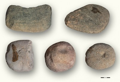 Figure 4. Selection of ground stone tools from Vlasac (Serbia); photographs by E. Cristiani.