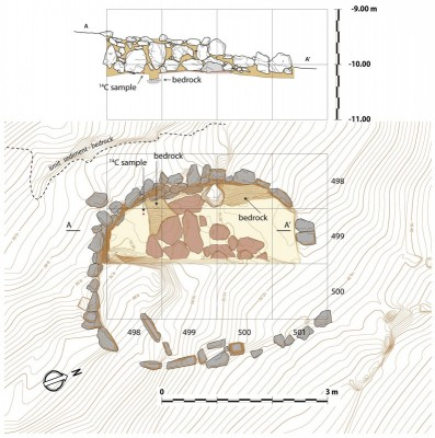 Figure 3. Plan of the excavated building (below), and side view of the wall from the east (above). Note the test pit exposing the bedrock after 0.1–0.2m. Bedrock also constituted part of the floor of the structure in square 500/498.