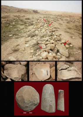 Figure 6. Various heavy stone artefacts heaped on the site's surface by local people.