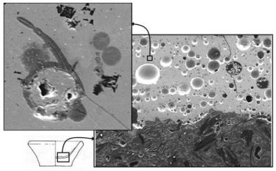 Figure 9. Scanning electron images of a section through a scorifier. On the right, interface between the graphite-tempered ceramic and the viscous slag, which contains many round voids (50x magnification, width of image ~3 mm). On the top left, detail of the slag, where the main feature is a big prill of almost pure lead (mid left), but some smaller droplets of copper (dark grey) are present (870x magnification, width of image ~100 μm).