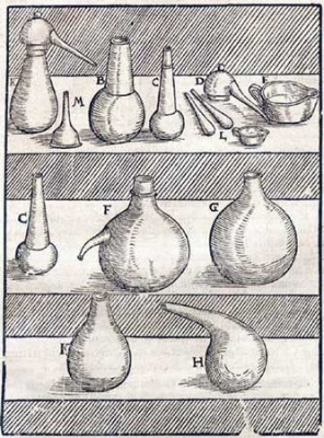 Figure 2. Part of the equipment of a 16th century laboratory as depicted in Lazarus Ercker's <em >Treatise on Ores and Assaying</em> (Sisco &amp; Smith 1951: 142).