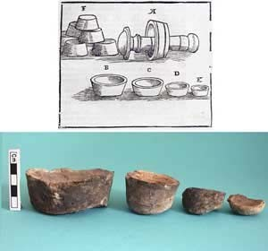 Figure 10. Top, bone-ash cupels and mould for making them as represented by Ercker in the 16th century (Sisco & Smith 1951: 33). Bottom, some cupels recovered in Oberstockstall. graphite-tempered ceramic and the viscous slag, which contains many round voids (50x magnification, width of image ~3 mm). On the top left, detail of the slag, where the main feature is a big prill of almost pure lead (mid left), but some smaller droplets of copper (dark grey) are present (870x magnification, width of image ~100 μm).